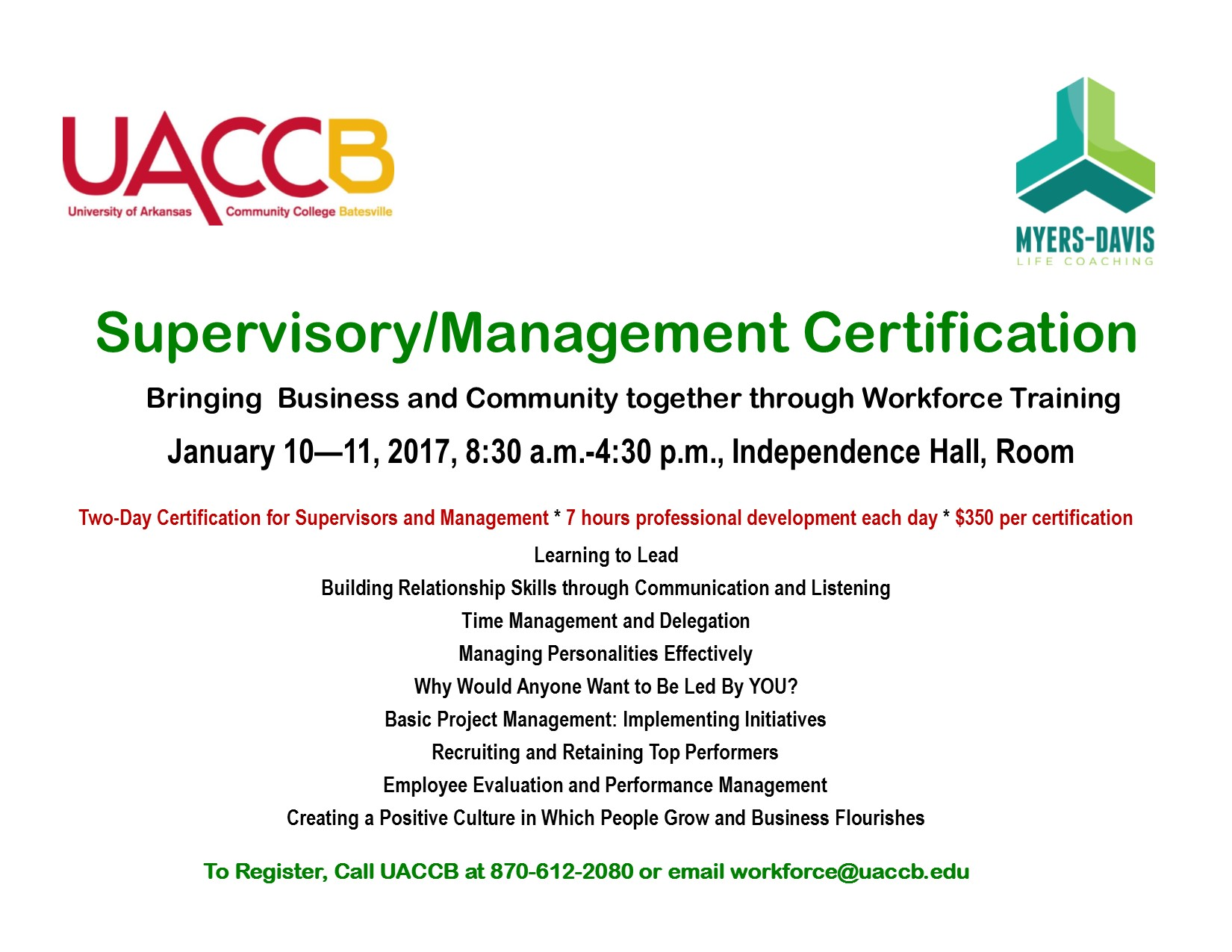 Supervisory Management Certification Myers Davis Life Coaching