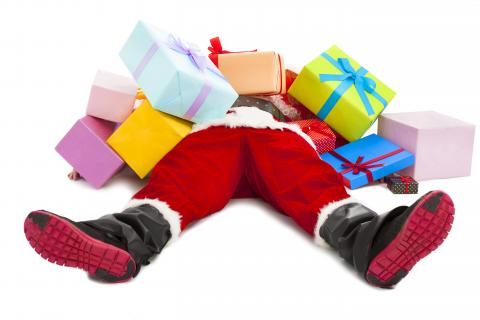 Santa Claus laying on floor